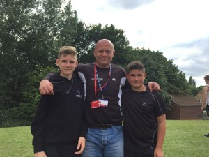 Alex with two of his Gateshead Harriers Javelin throwers