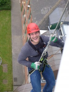 Mark Wilson daring to dangle off the tower at Segedunum Roman Fort