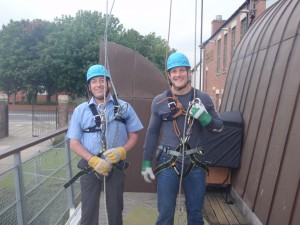 Rob (left) with Patron Mark Wilson after daring to abseil off the tower at Segedunum Roman Fort