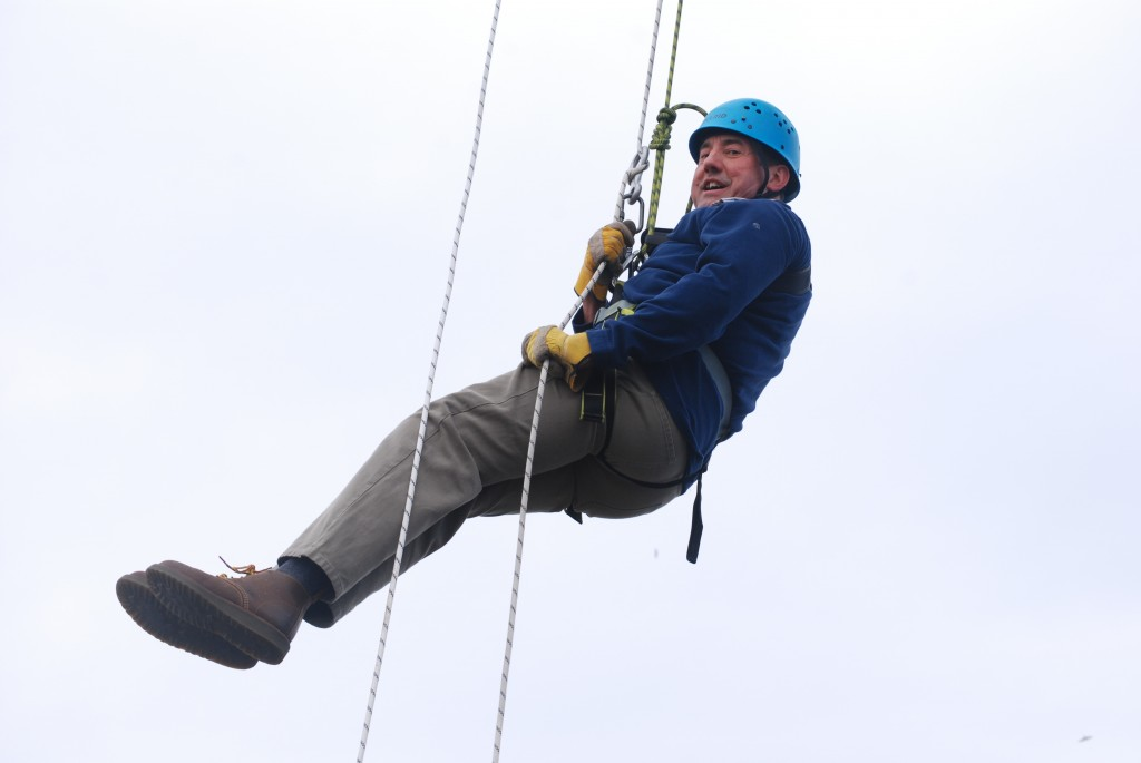 Paul Hanson does the Friends of High Borrans Segedunum Abseil 2015